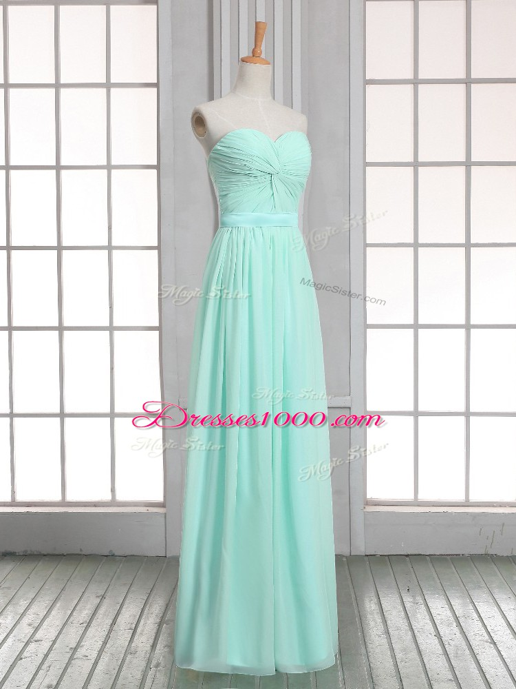 Apple Green Sleeveless Floor Length Ruching Lace Up Dress for Prom