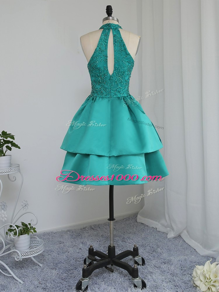 Extravagant Turquoise High-neck Neckline Lace and Appliques Sleeveless Zipper