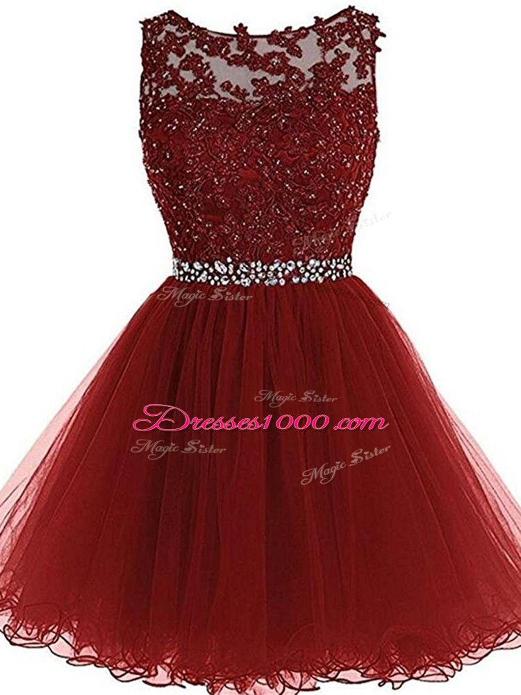 Glamorous Burgundy Cocktail Dresses Prom and Party and Sweet 16 with Beading and Lace and Appliques Scoop Sleeveless Zipper