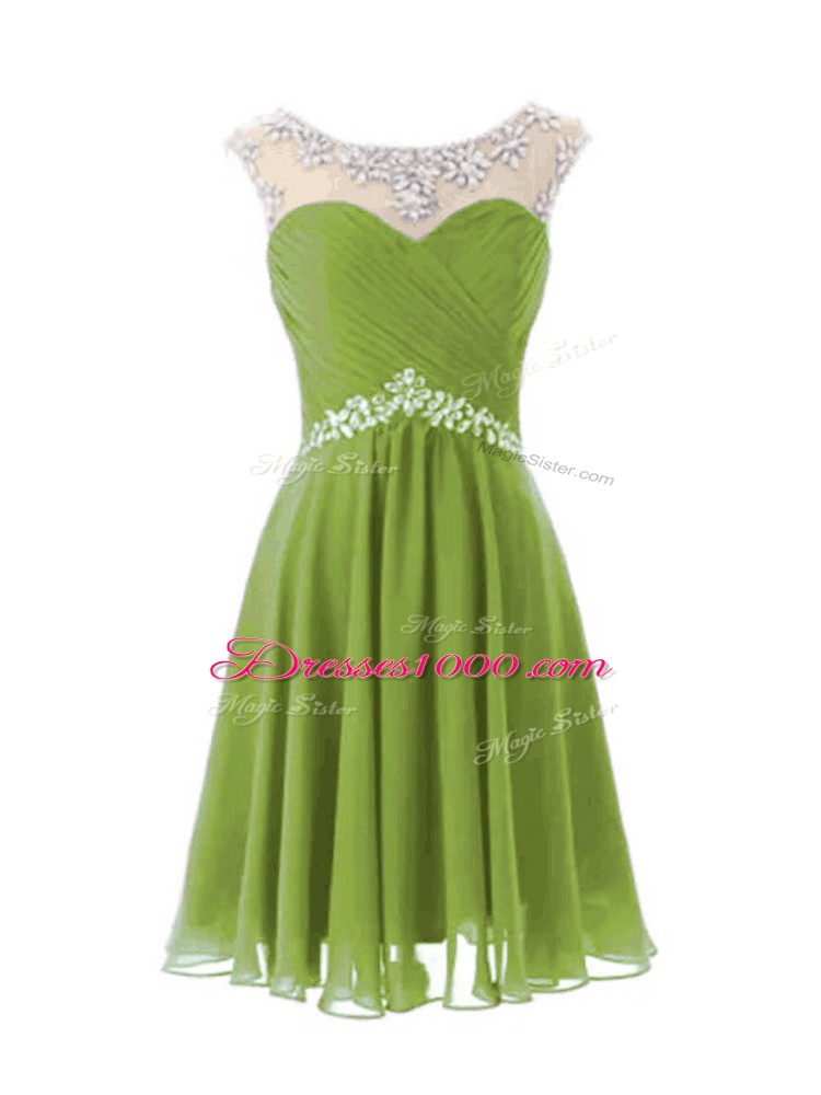 Colorful Knee Length Olive Green Prom Dresses Scoop Cap Sleeves Zipper