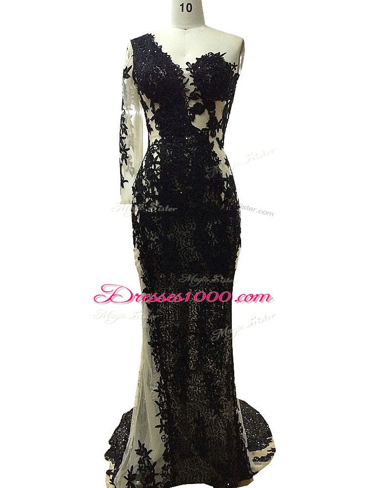 Long Sleeves Side Zipper Floor Length Beading and Appliques Prom Party Dress