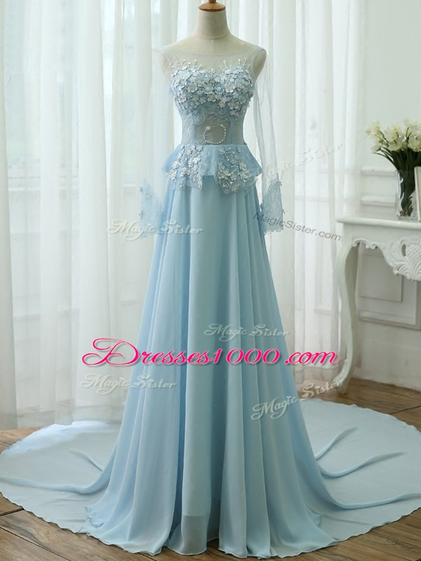 Light Blue Empire Beading and Appliques Dress Like A Star Zipper Chiffon Long Sleeves
