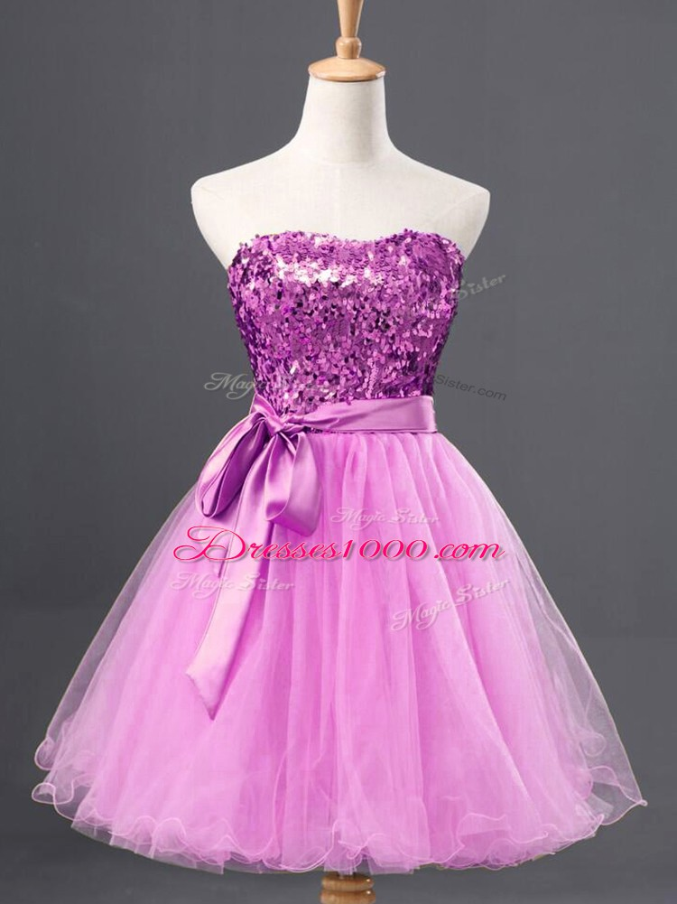 Mini Length A-line Sleeveless Lilac Prom Dress Zipper
