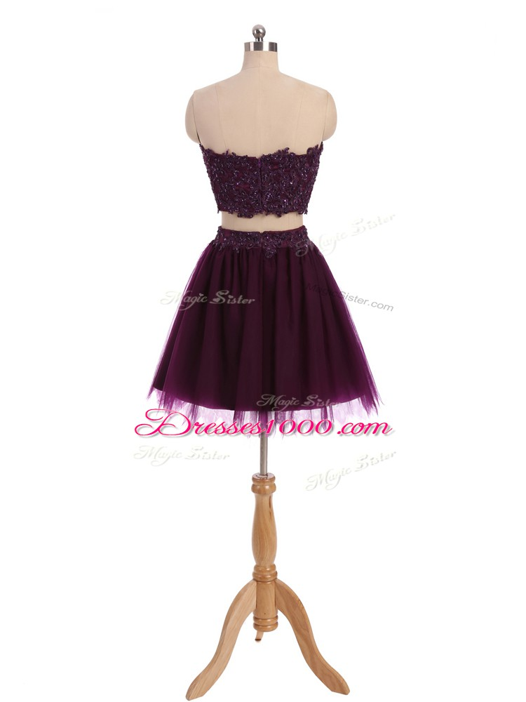 Comfortable Tulle Sweetheart Sleeveless Zipper Beading and Appliques Prom Evening Gown in Dark Purple