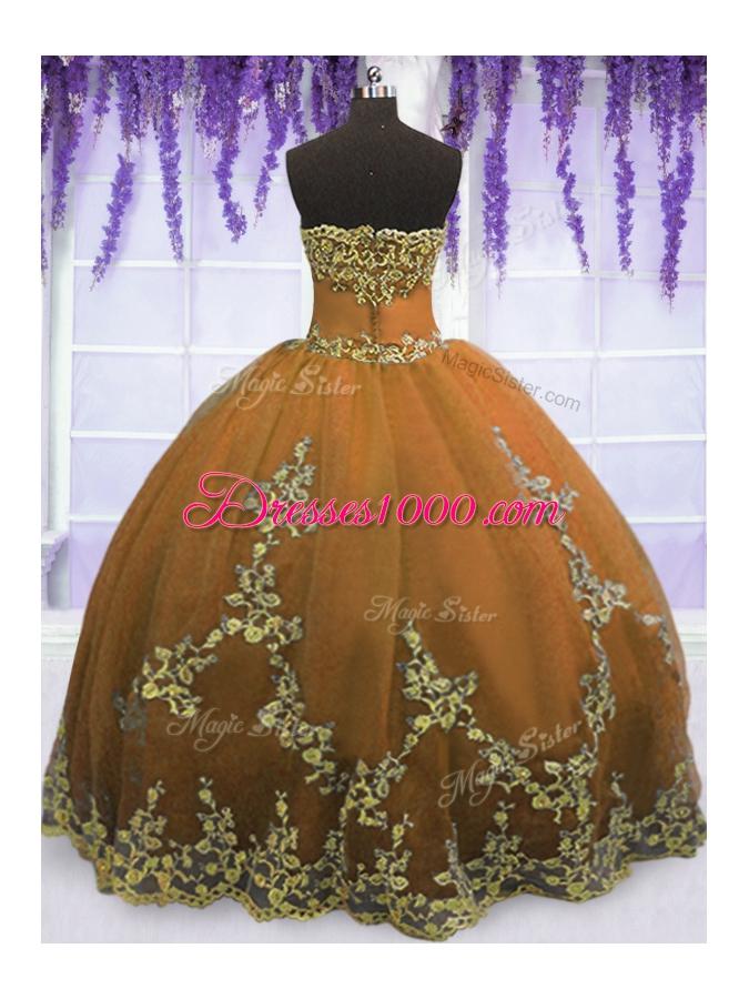 Wonderful Strapless Sleeveless Zipper Sweet 16 Dresses Brown Tulle