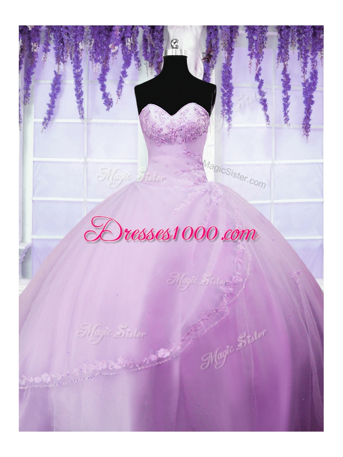 Lilac Tulle Lace Up Sweet 16 Dresses Sleeveless Floor Length Appliques