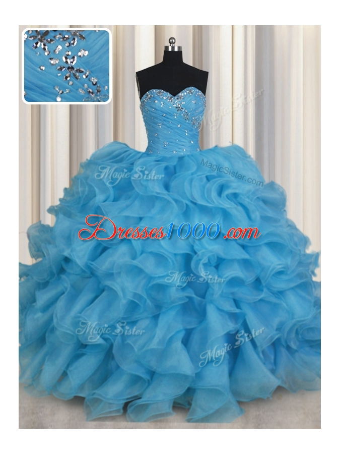 Baby Blue Ball Gowns Sweetheart Sleeveless Organza Floor Length Lace Up Beading and Ruffles Quinceanera Dress