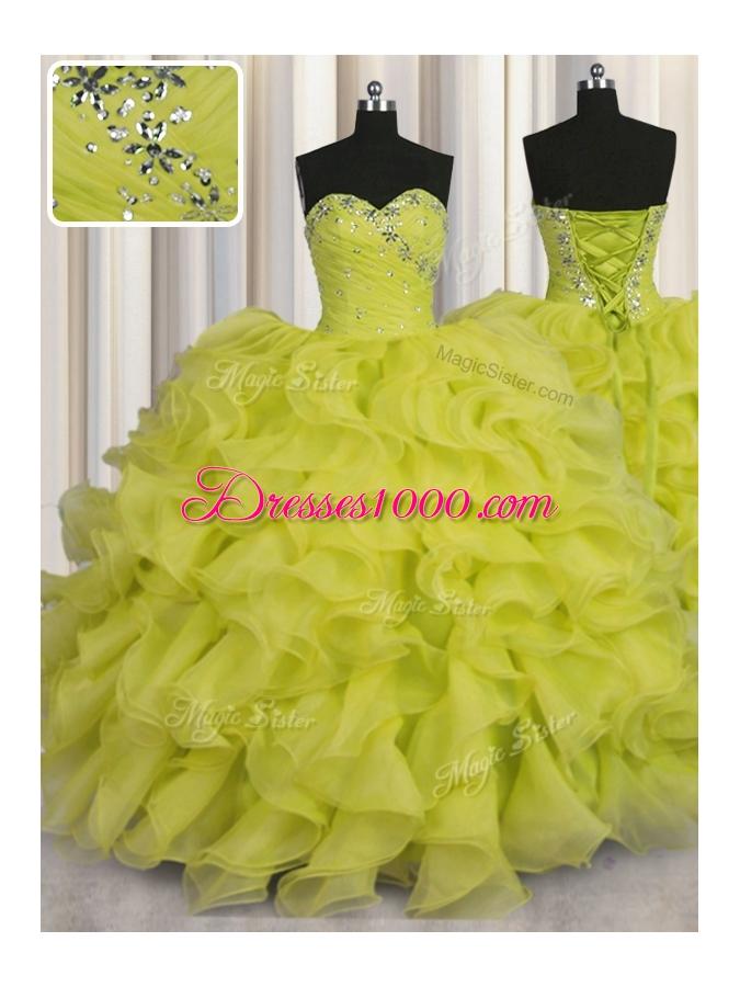 Pretty Floor Length Yellow Green Vestidos de Quinceanera Organza Sleeveless Beading and Ruffles