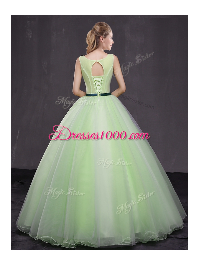 Custom Made Scoop Yellow Green Organza Lace Up Sweet 16 Dresses Sleeveless Floor Length Appliques