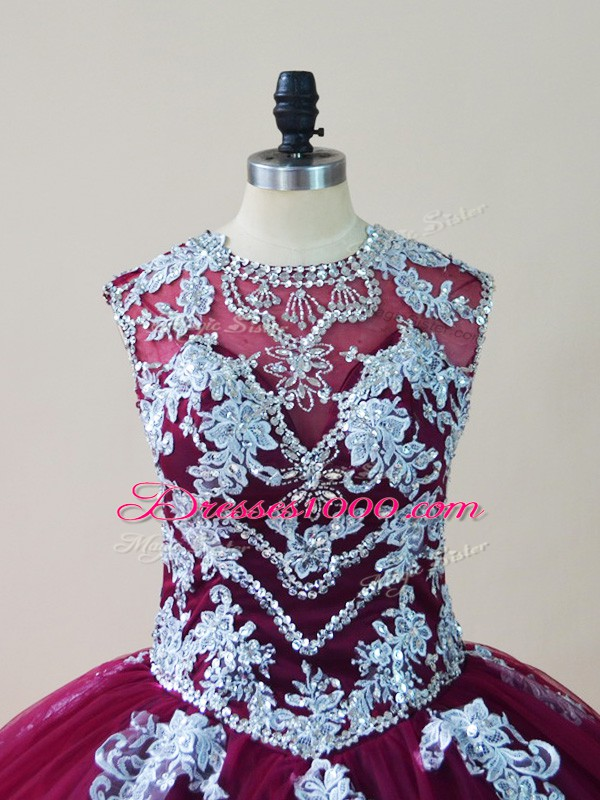 Flare Tulle Scoop Sleeveless Lace Up Beading and Appliques Quinceanera Gowns in Burgundy