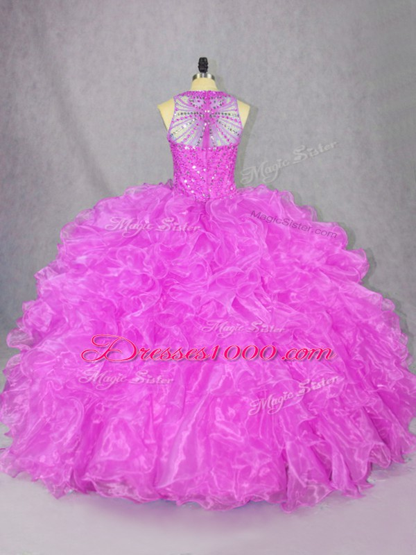 Sleeveless Beading and Ruffles Zipper Sweet 16 Dresses