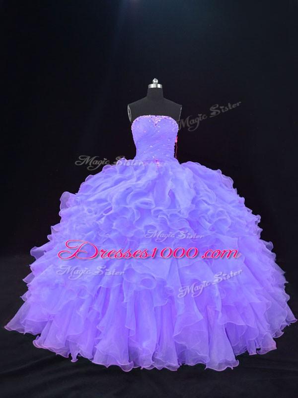 Modern Floor Length Ball Gowns Sleeveless Purple Sweet 16 Dress Lace Up
