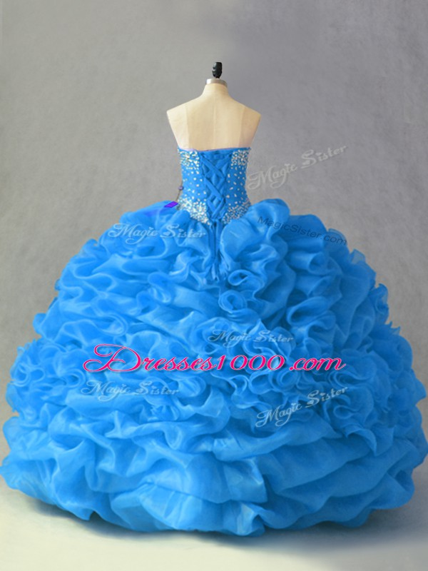 Fantastic Ball Gowns Sweet 16 Quinceanera Dress Blue Sweetheart Organza Sleeveless Floor Length Lace Up