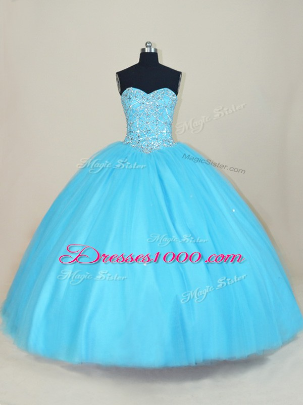 Stylish Sleeveless Floor Length Beading Lace Up Vestidos de Quinceanera with Aqua Blue