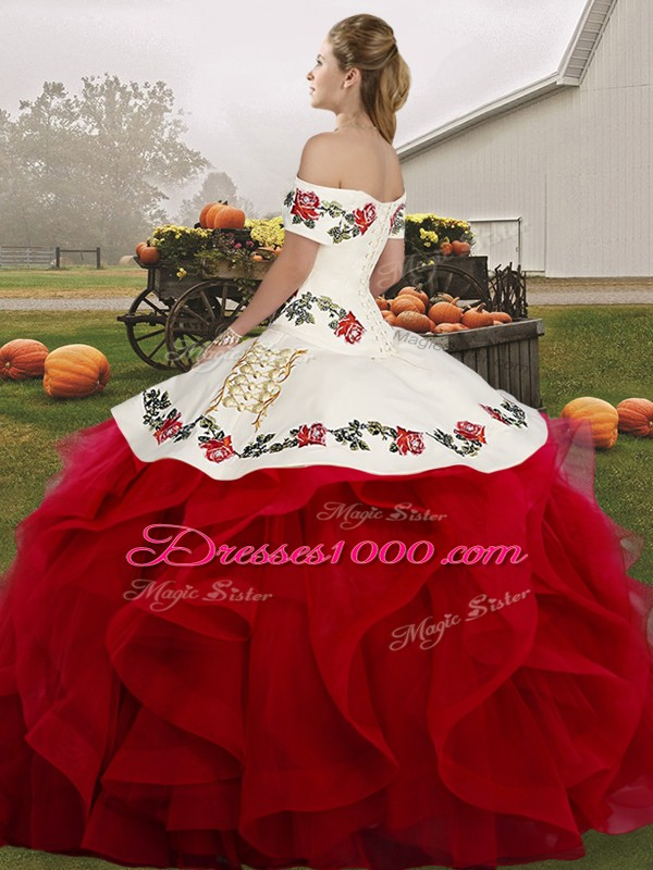 Decent Sleeveless Embroidery and Ruffles Lace Up Sweet 16 Dress