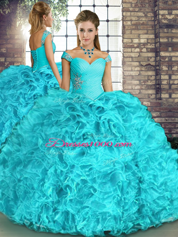 Aqua Blue Off The Shoulder Neckline Beading and Ruffles Quinceanera Dress Sleeveless Lace Up