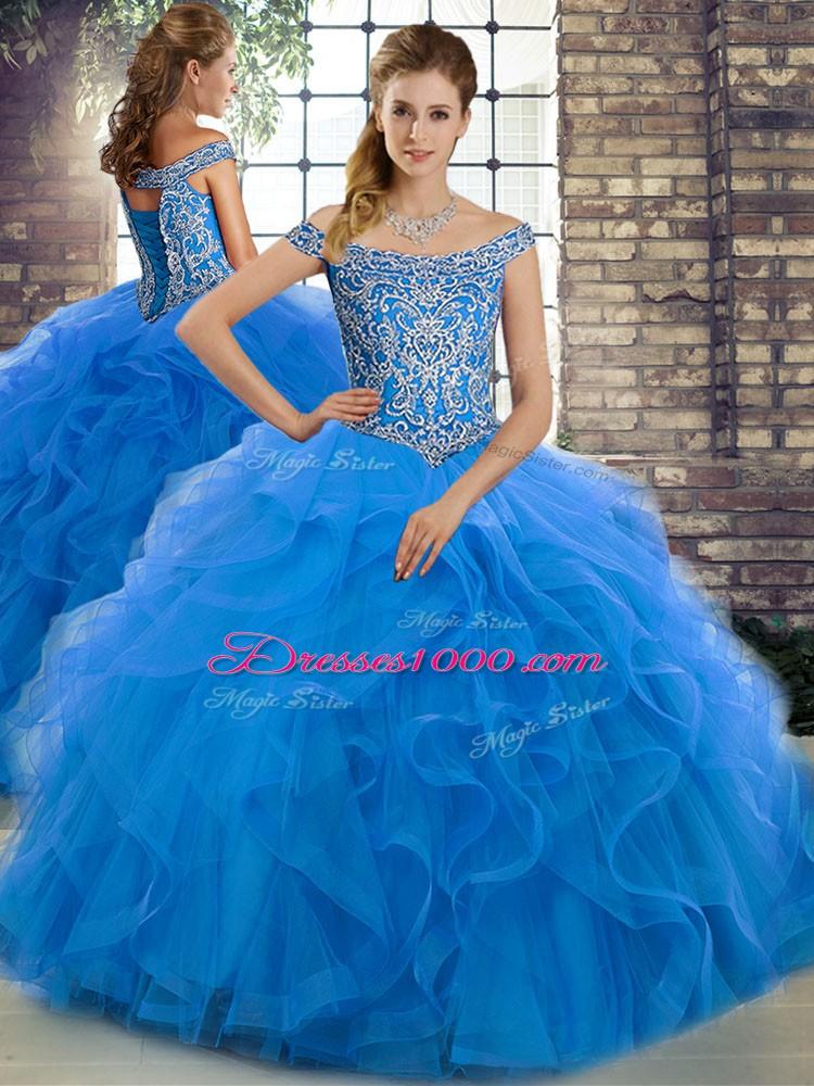 Blue Sleeveless Brush Train Beading and Ruffles 15th Birthday Dress