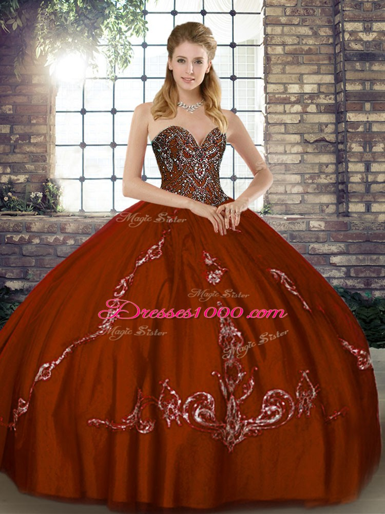Exceptional Beading and Embroidery Quince Ball Gowns Brown Lace Up Sleeveless Floor Length