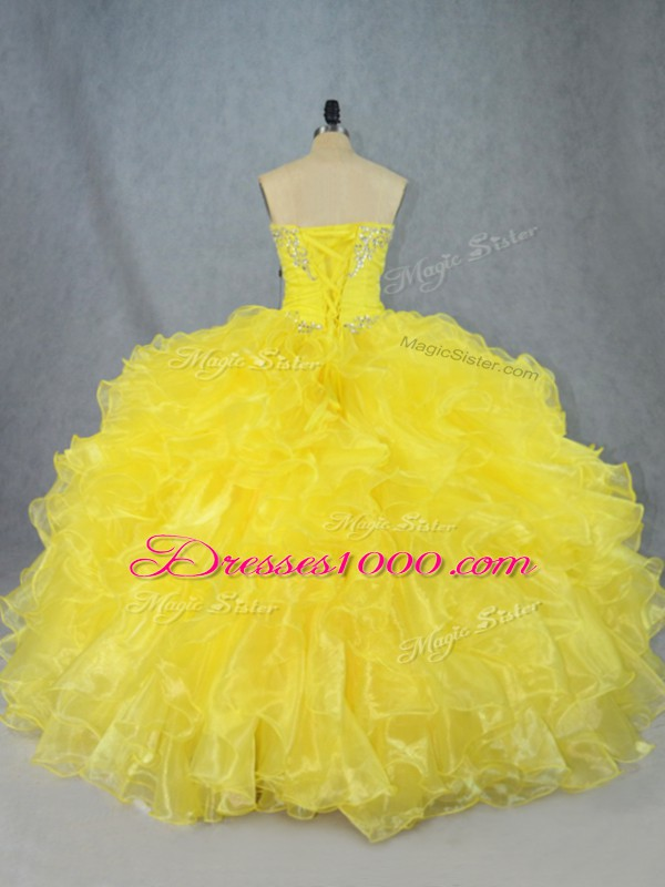 Yellow Strapless Neckline Beading and Ruffles Quinceanera Dresses Sleeveless Lace Up