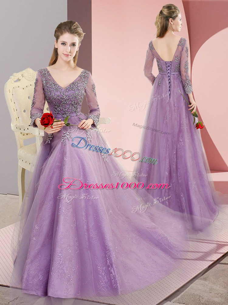 Sumptuous Tulle V-neck Long Sleeves Sweep Train Lace Up Beading and Appliques Evening Dress in Lavender