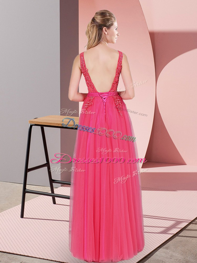 Custom Design Tulle V-neck Sleeveless Backless Lace Dress for Prom in Hot Pink