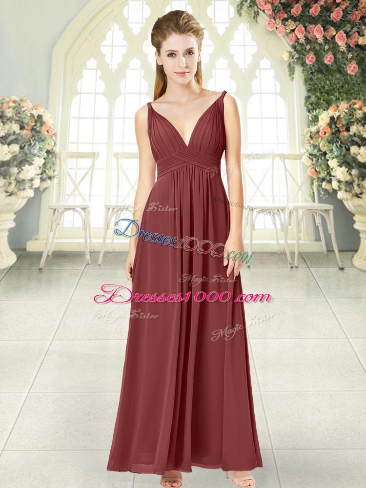 Noble Floor Length Empire Sleeveless Wine Red Prom Gown Backless