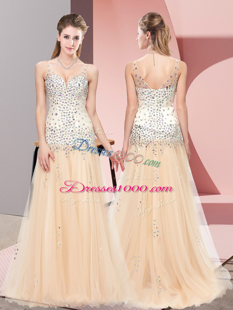 Discount V-neck Sleeveless Prom Evening Gown Sweep Train Beading Champagne Tulle