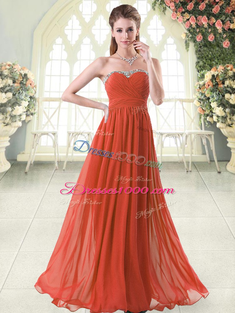 Chiffon Sleeveless Floor Length Evening Dress and Beading