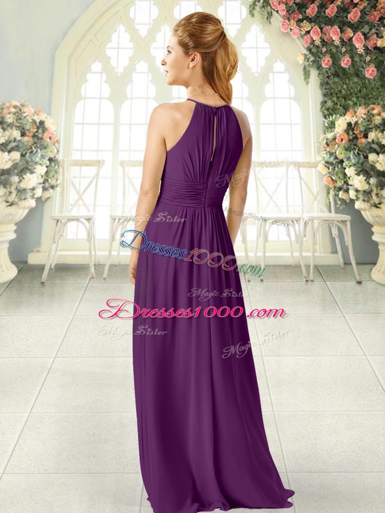 Fantastic Scoop Sleeveless Zipper Prom Dress Brown Chiffon