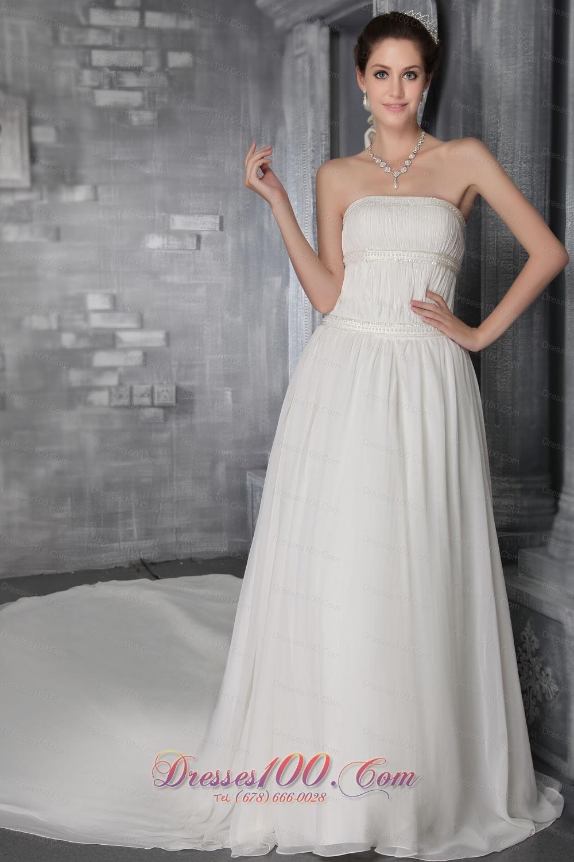 Sheath Princess Cathedral Train Chiffon Wedding Gown