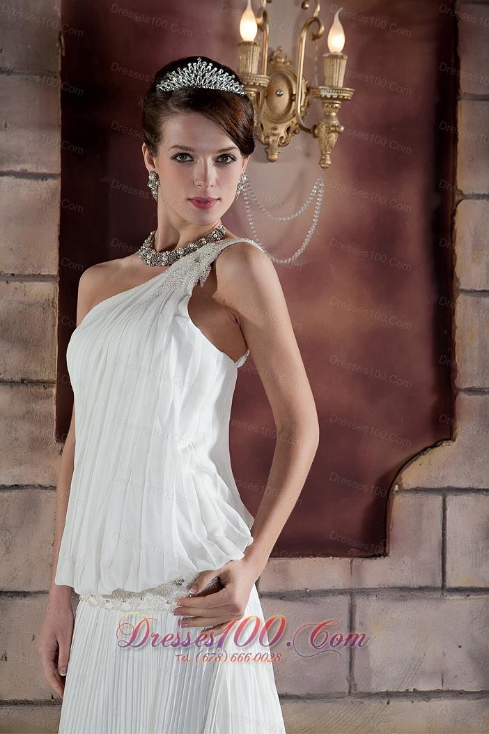 Summer One Shoulder Court Train Wedding Dress Ruched