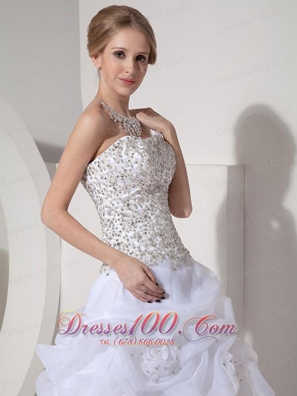 Heavy beaded ruffles bridal dresses court train romantic for Heavy beaded wedding dresses