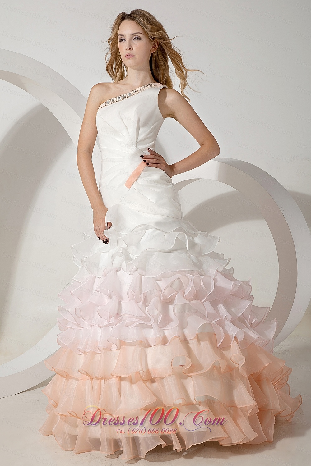Colorful One Shoulder Organza Beading Wedding Dress