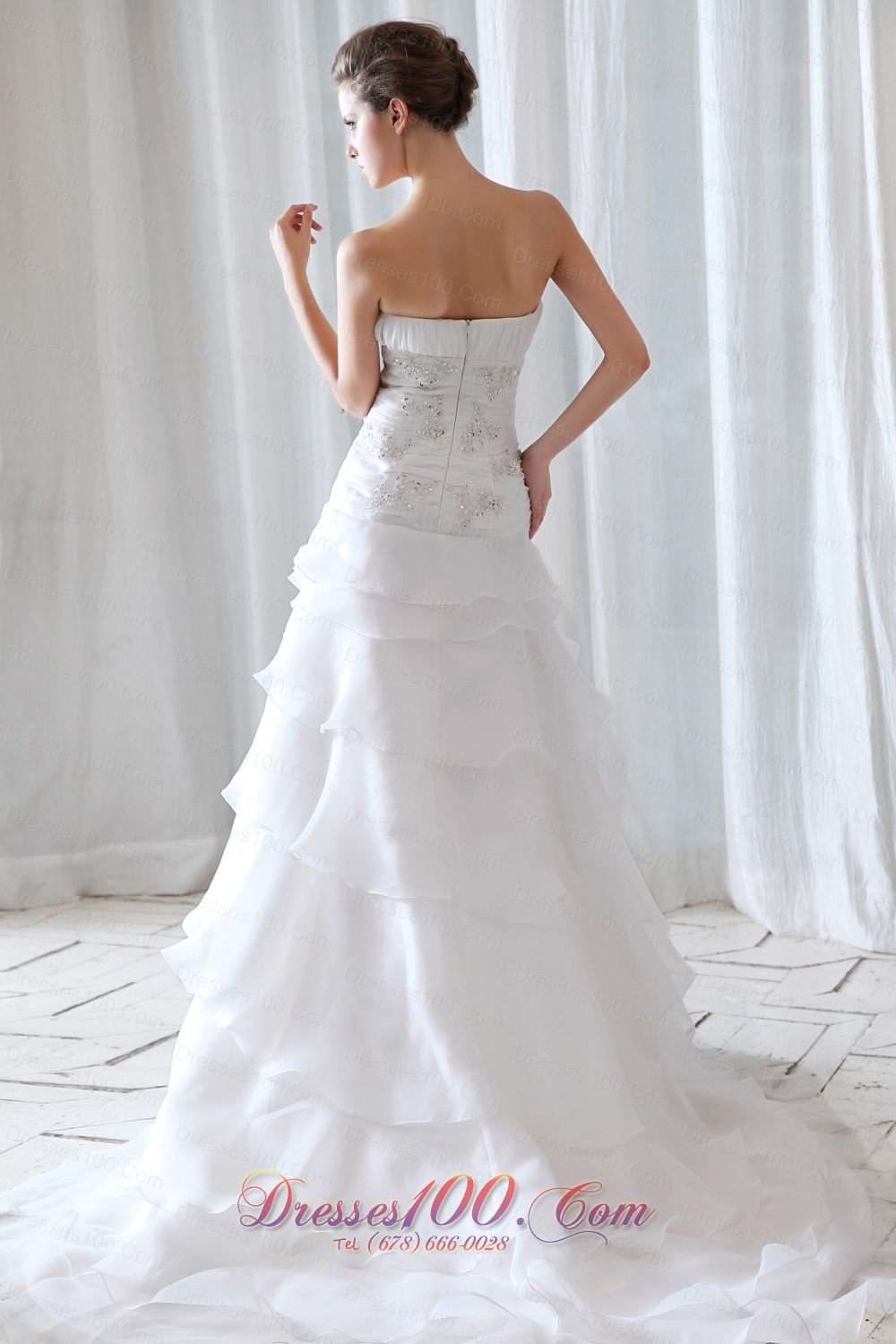 Fitted princess strapless organza ruchings wedding dress for Fitted strapless wedding dress