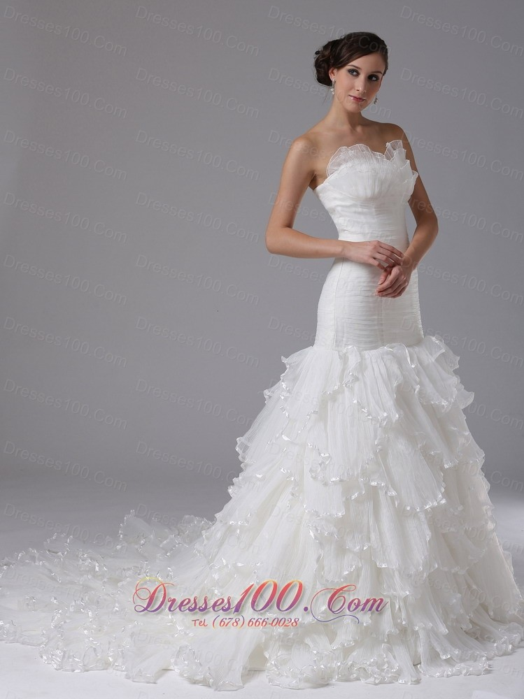 Trumpet Wedding Dresses With Ruffles : Style wedding dresses trumpet sweetheart ruched ruffles dress