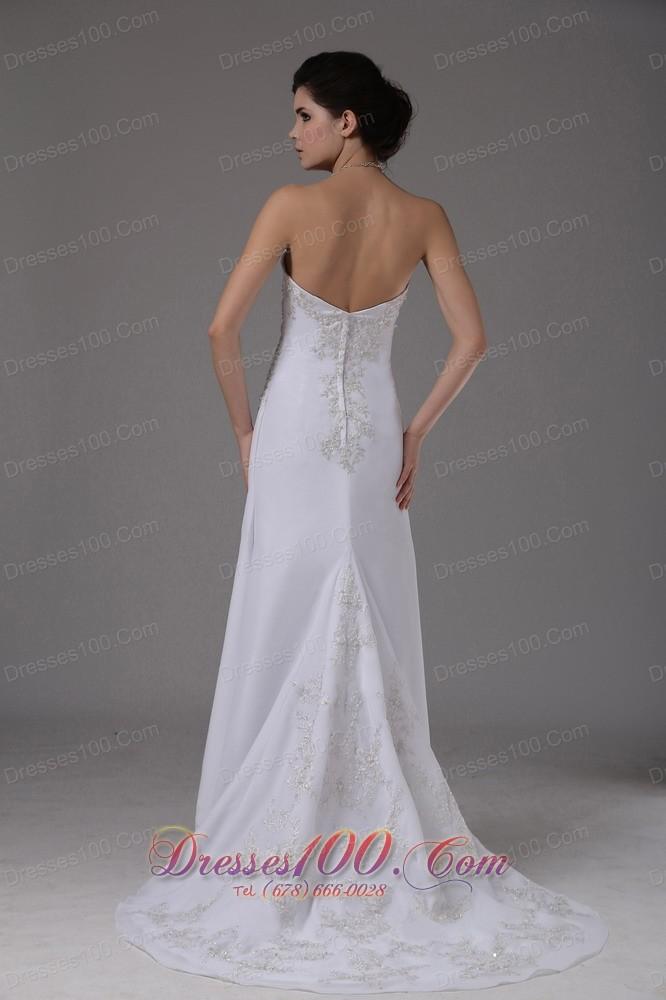 Embroidery chiffon white dress for destination wedding for White destination wedding dresses