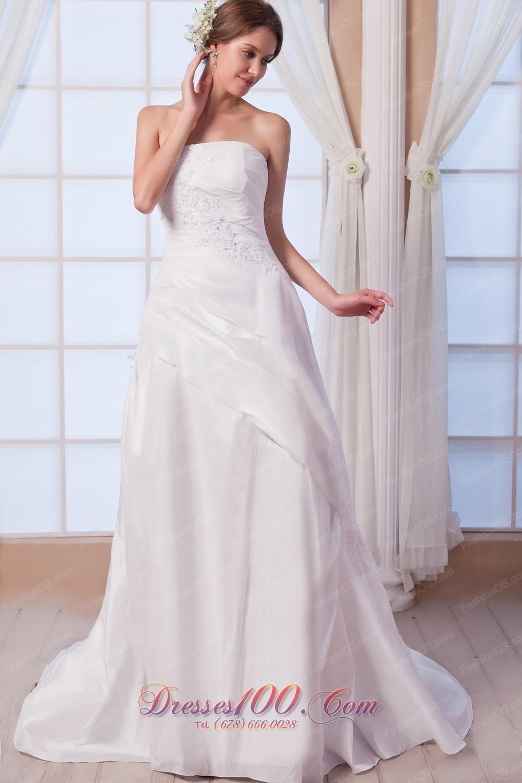 Appliques Bridal Dress A Line Strapless Princess Anne