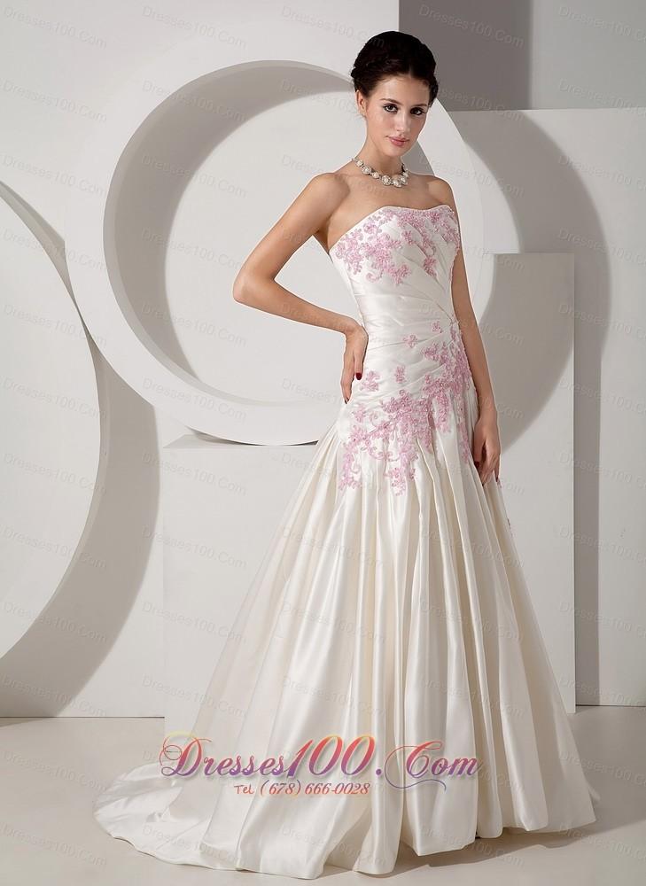 Classical Wedding Dress Colored Appliques Court Train Satin