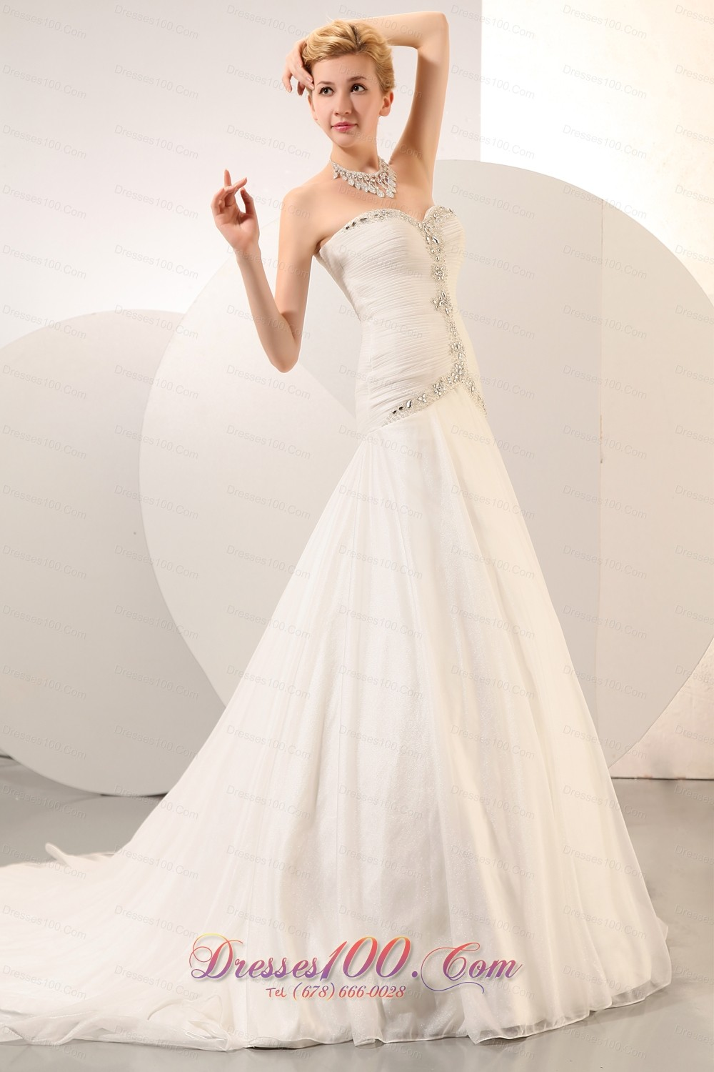 Formal Structured Wedding Dress Rhinestones Chapel Train