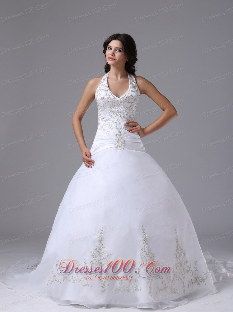 Halter ball gown embroidery brush wedding gowns perfect for Halter ball gown wedding dresses