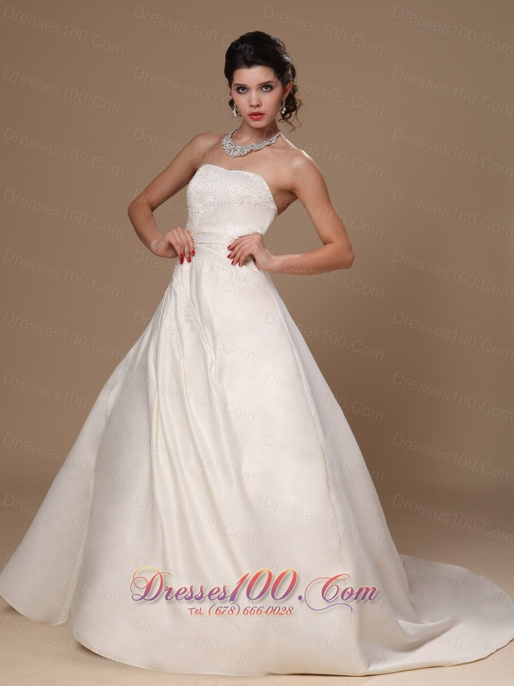 Beaded church wedding dress court train ball gown new for Dresses for church wedding