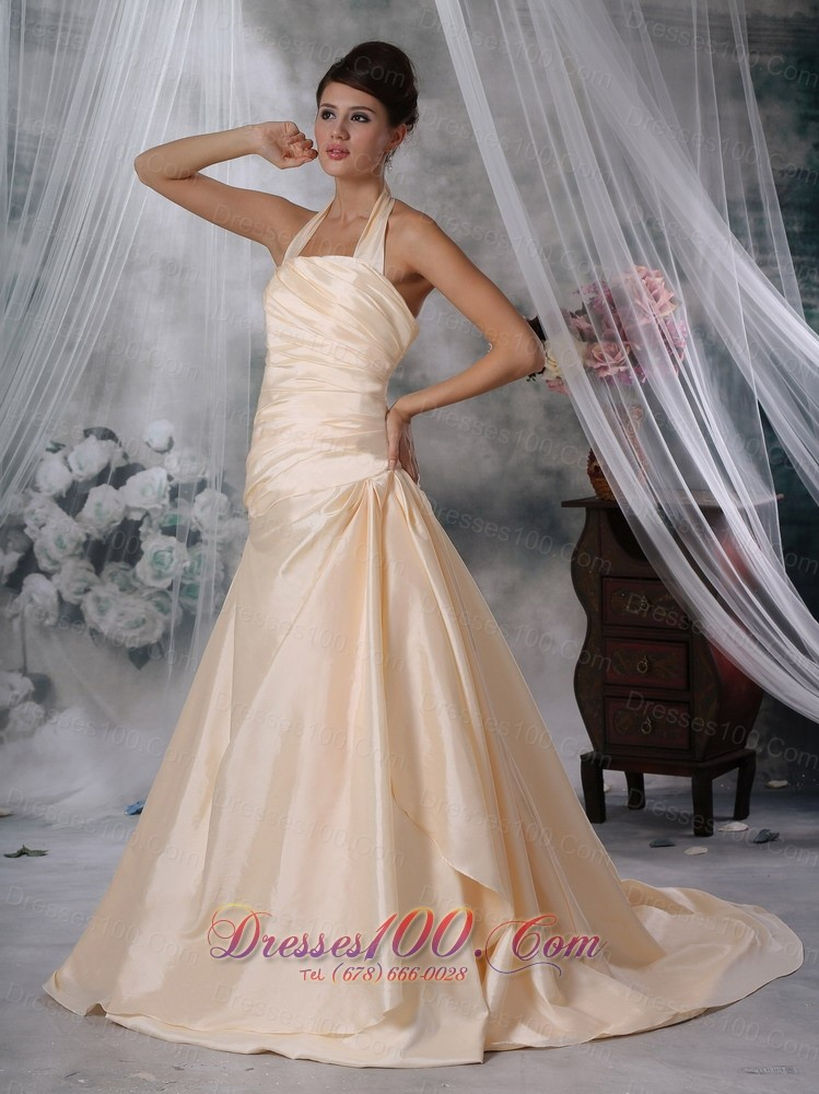 Halter Ruched Champagne Colored Wedding Dress Taffeta Top