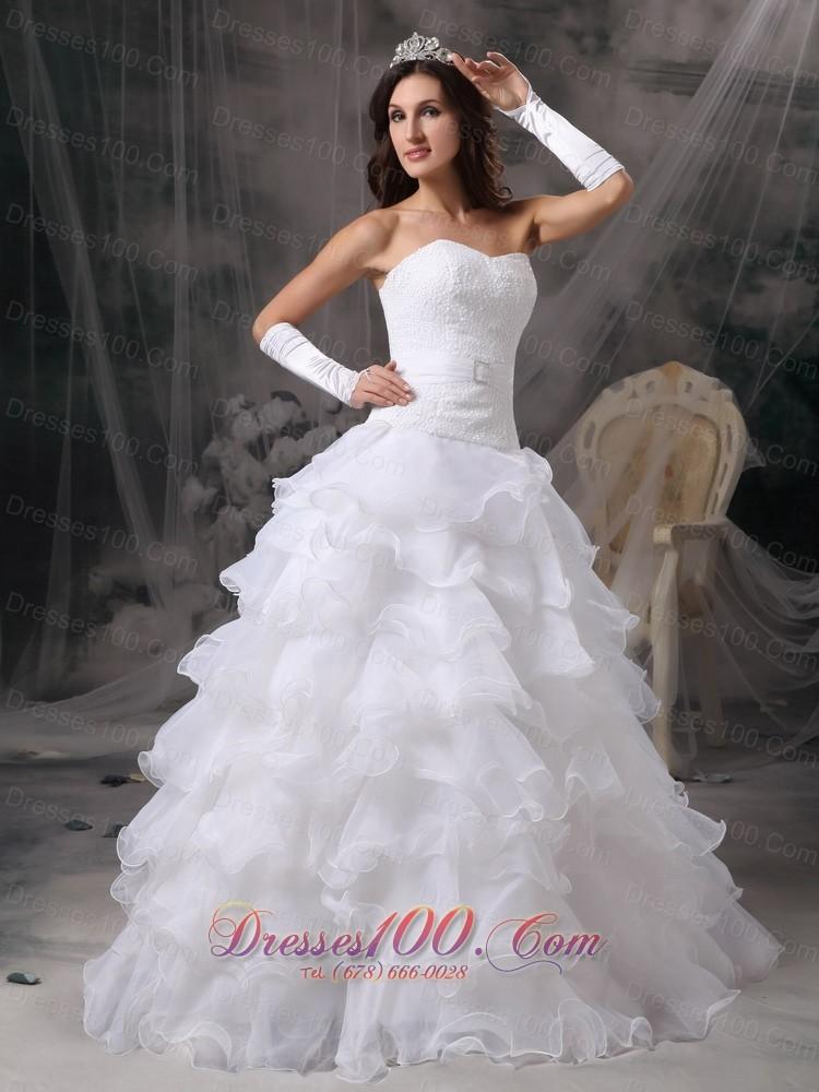 Ruffles sweetheart organza wedding dress with gloves for Wedding dresses with gloves