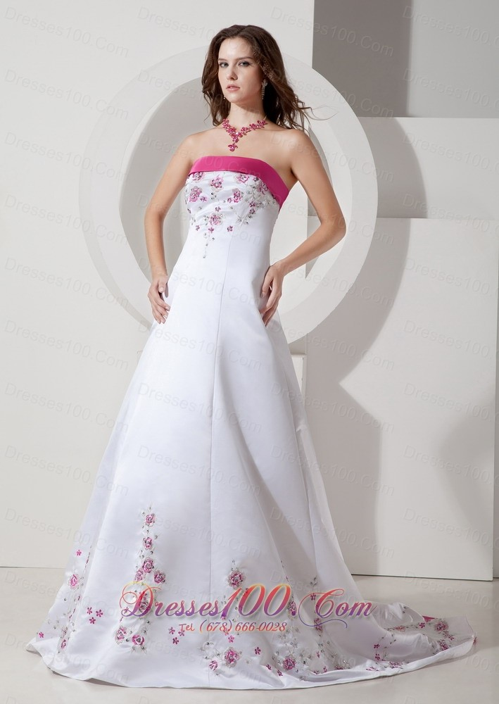hot pink embroidery court train wedding dress colored top