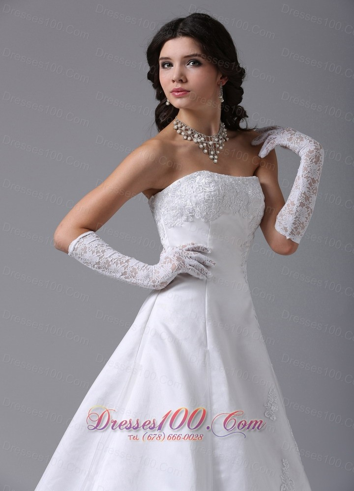 Strapless lace a line wedding dress with gloves perfect for Wedding dresses with gloves