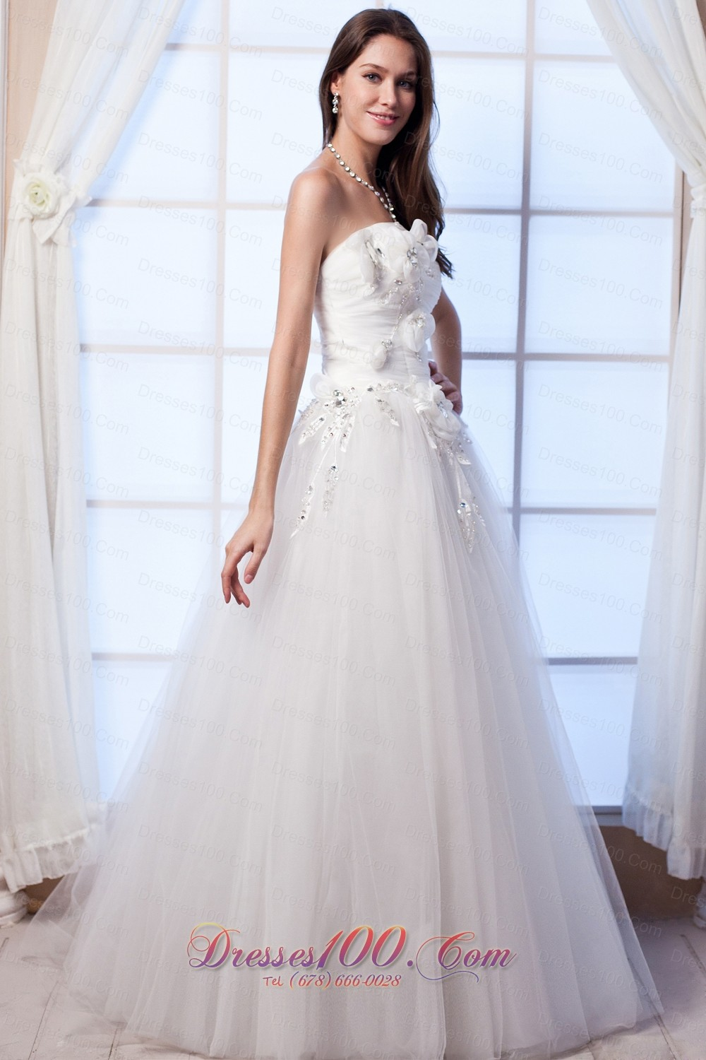 Beaded hand made flowers tulle bridal wedding gown top for Hand beaded wedding dresses