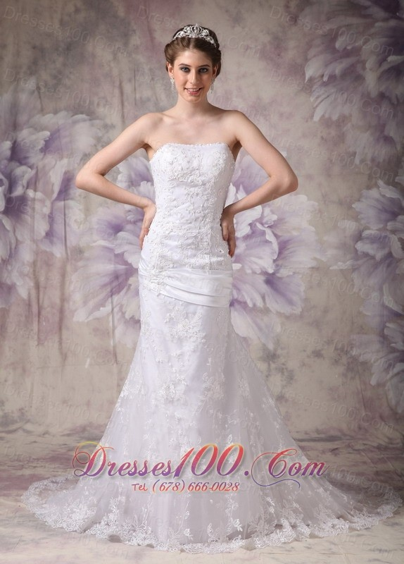 Appliques Mermaid Court Wedding Dress Strapless