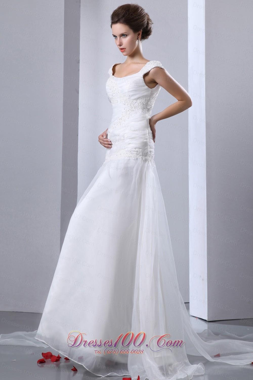 Appliques Chapel Train Square Bridal Wedding Dress
