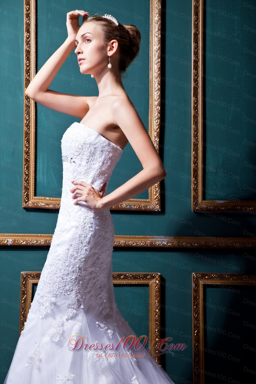 Mermaid Strapless Lace Brush Bridal Gowns Beaded