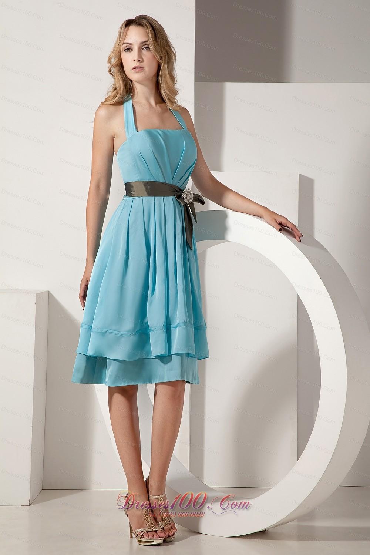 Aqua blue taffeta knee length bow bridesmaid dress ruched new aqua blue taffeta knee length bow bridesmaid dress ruched ombrellifo Images
